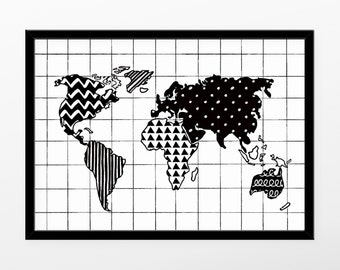 Black and White World Map Print, World Map, Monochrome Nursery, Monochrome Print, Black & White Print, World Map Poster, Scandinavian Print
