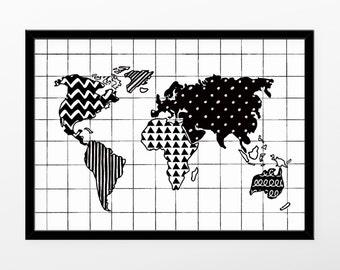 weltkarte poster karte von der welt hochzeitsgeschenk. Black Bedroom Furniture Sets. Home Design Ideas