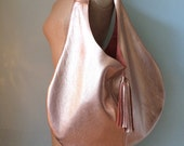 Rose gold leather hobo bag rosegold leather slouch bag leather tote