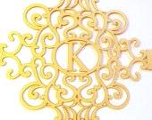 Monogram laser cut belly band, regal elaborate design
