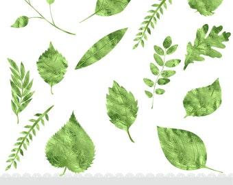 Leaf Clipart, Instant Download, Foil Leaf Clipart, Metal Clipart, Assorted Leaves, Foil Clipart, Green Leaves Clipart