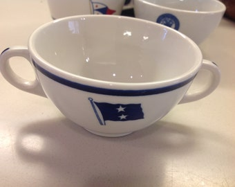 Rare WWII US Navy Rear Admiral Two Star Bouillon Cup with 2 Handles, US Navy Dinnerware, Shenango China