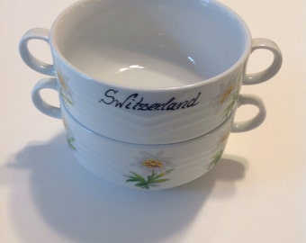 2 Boullion Cups from Suisse Langenthal, Soup Cups from Switzerland, lovely floral Edelweiss