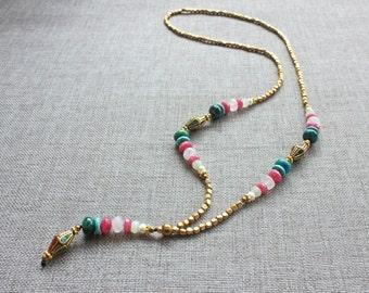 Golden necklace for women - Mala necklace - Boho necklace - Bohemian necklace - Brass necklace - Long necklace - Gemstones necklace