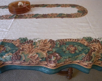 Printed Fall Tablecloth, Vintage Cotton,  Harvest Table, 57 x 100 Rectangle