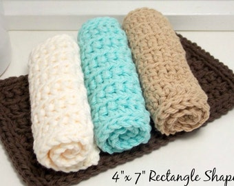 Cotton Crochet Dishcloths - Handmade Eco-Friendly Reusable Kitchen or Bathroom Cleaning Cloth - Set of 4