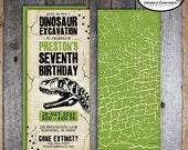 Dinosaur Invitation   Dinosaur Party Invitation   TREX Invitation   Dinosaur Excavation Invitation   Dino Dig Fossil Hunter   Printable