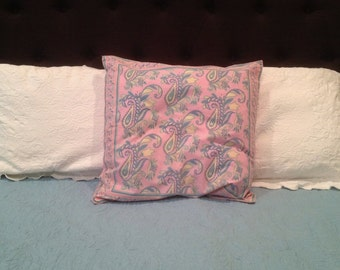 Vintage Pink and Blue Paisley Cotton Pillow Cover
