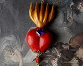 Large Sacred Flaming Red Heart Necklace Pendant Gift Milagros Carved Wood Painted Gold Chain Long Dark Goth Jewelry Gift