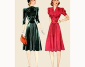1940s Style Gathered Bust Dress with Nipped Waist and Full Skirt Made from Vintage Pattern Custom Made in Your Size and Color