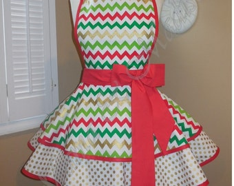Metallic Chevron Print Woman's Retro Apron With Tiered Skirt And Bib...Plus Size Available