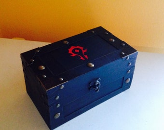 World of Warcraft Horde inspired SMALL size wooden box chest -books, cards, treasure