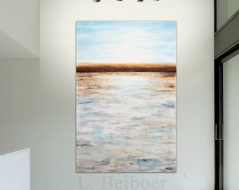 Original Large modern abstract landscape painting 40 x 60 art blue umber xl abstract acrylic painting wall art MADE-TO-ORDER by L. Beiboer