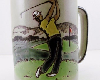 Otagigi Ceramic Golf Coffee/Tea Mug/Cup Rustic Stoneware Golfing Scene Japan