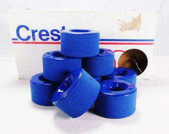Vintage CREST BLUE Roller Skate Wheels 8 Piece UNARCO Rubber Products New In Box