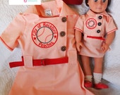 """Custom Vintage New 18"""" Doll Dress and Hat, YOU pick fabric colors and embroidery letters/numbers by Messy Kids Designs"""