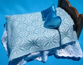 Dollhouse Coverlet Miniature Handwoven Coverlet Sky Blue Star of Bethlehem Coverlet 12th Scale Dollhouse Blanket Small Doll Bedding