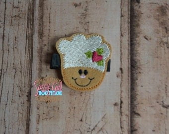 SALE-Boutique Holiday Felt Hair Clips - Girls Hair Accessories Christmas Embroidered Felt Chef Gingerbread Baker Hair Clippie-No Slip Grip