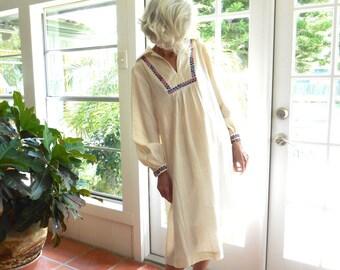 Vintage Fred Rothschild California 1970's dress gauzy cotton long sleeve casual loose fit resort beach: medium, large