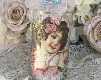 Shabby glass apothecary jar, storage jar, canister jar, craft storage jars, little girl nursery, shabby cottage chic,fanny pippin