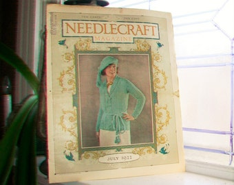 1922 Needlecraft Magazine July Issue with Large Cream Of Wheat Ad Vintage 1920s Sewing