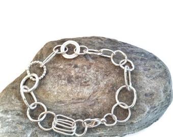 Silver Bracelet - Charm Bracelet - Handmade Sterling Silver Link Bracelet