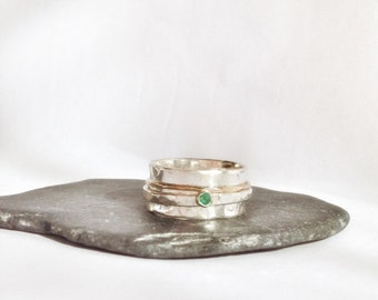 Spinner Ring - Emerald Ring - Wide Silver Ring - Artisan Jewelry