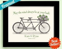Irish Wedding Gift Unique Engagement Gift Shamrock Art Framed Gift for Couples Bicycle for Two Personalized Wedding Irish Proverb Print