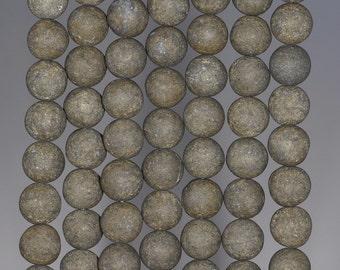 12MM Matte Pyrite Gemstones Round 12MM Loose Beads 15.5 inch Full Strand (80000582-279)