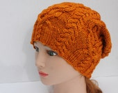 Hand Knit Unisex Slouchy Cabled Hat