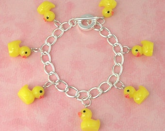 Yellow Toy Duck Duckling Charm Bracelet - Vintage Inspired - Retro Kitsch 50s Jewellery - Easter Gift - Rubber Duck Bracelet - Kawaii
