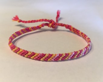 Pink & Tangerine - Striped Friendship Bracelet