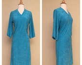 ON SALE Vintage 80s Teal Terry Cloth Dress - 1980s Turquoise Bathing Suit Cover Up Size Small Medium