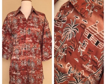 Vintage Mens Tiki Button Up Tropical Hawaiian 60s 70s Polynesian Print Size Large XL XXL