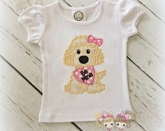 Valentine's Day puppy shirt - girls Valentine's day shirt - goldendoodle shirt with heart - embroidered Valentine's Day puppy shirt