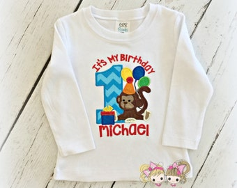 "Boys Monkey Birthday shirt - ""It's my birthday"" monkey shirt - 1st birthday monkey themed birthday shirt - boys embroidered birthday shirt"