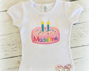 Rainbow birthday cake shirt - embroidered birthday shirt for girls - girls 2nd birthday shirt with cake - pink birthday candle cake shirt