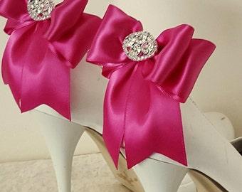 Wedding Shoe Clips,Bridal Shoe Clips,  Rhinestone Shoe Clips,Magenta, MANY COLORS, Bow Shoe Clips, Clips for Wedding Shoes, Bridal Shoes