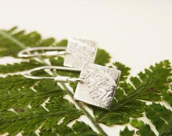 Silver Fern Leaf Pattern Square Earrings - Fine Silver Leaf Fern Earrings on Sterling Silver Hooks, Free UK Postage