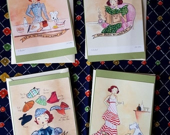 4 Mini Myrna Prints. A6 with a Set of Envelopes...