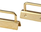 Set of 10, 1 1/2 Inch Brass Plated Key Chain, Key Fob or Wristlet Hardware