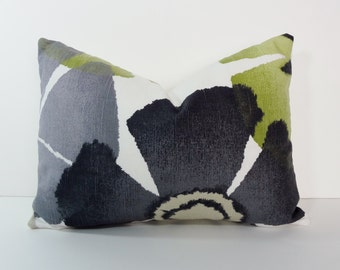 "Green, Grey, Charcoal Robert Allen at Home Pinwheel Petals Pillow Cover, Gray Lumbar Throw Pillow Cushion, 12"" x 16"""