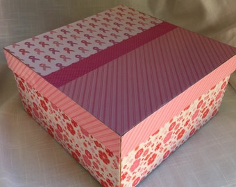 Breast Cancer Box - Pink Ribbon, Chevron, Floral decorated Box.  Ideal place in which to keep notes and cards of encouragement. Personalize.
