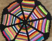 ON SALE - 10% OFF Ripple Crochet  rug... Round rug on stripes