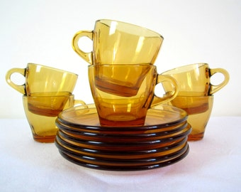 RETRO Italian BORMIOLI cups and saucers - demitasse, set of 6, amber glass