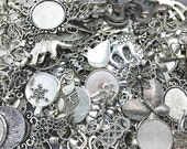 Mixed Charms -50pcs Mixed Variety of Antique Silver Charm Pendant Bases