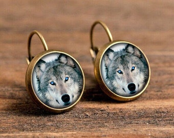 1 pair of 16mm Handmade Antique Bronze / Silver Wolf Glass Cabochon French Earwire Earrings