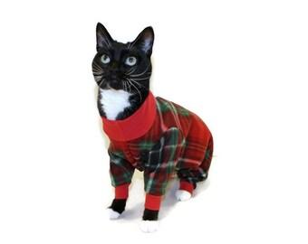 Red Plaid Fleece Cat Pajamas-Christmas Cat Pajamas-Christmas Cat Onesie-Cat Clothes-Fleece Cat Pajamas-Cat Clothing-Plaid Cat Onesie