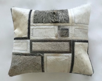 Cowhide Pillow - Grey White Cream Patchwork Cushion - 16 x 19 in
