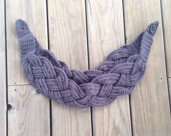 Crochet dark charcoal grey double braided infinity scarf cowl w/button, winter accessory